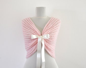 Pale Pink Bridal Cape Wedding Wrap Bridal Shrug with Ribbon Chic Romentic Elegant