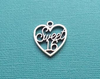 10 Sweet 16 Age Heart Charms Silver - CS2611