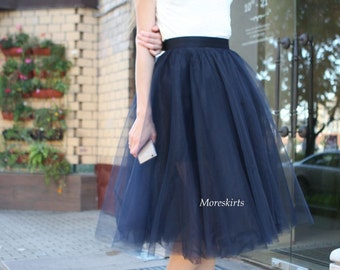 """Tulle skirt with matching lining, fixed waistband with hidden zipper  """"sun-shaped"""" (color - Ocean)"""