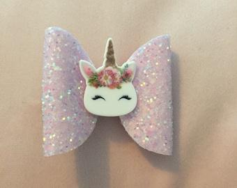 """3"""" light pink unicorn glitter bow"""