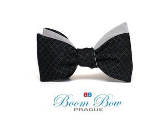 Mens Bow tie Grey and Black Silk men's self tied Bow Tie Boom Bow SWR279