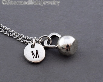 Kettlebell necklace, Kettle bell, fitness, weightlifting, antique silver, initial necklace, initial hand stamped, personalized, monogram