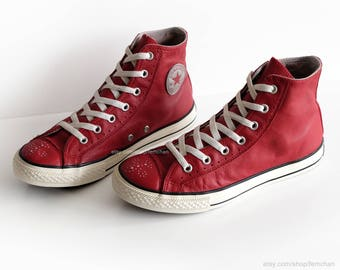 Converse All Stars, red leather, vintage sneakers, red high tops, brogue  details
