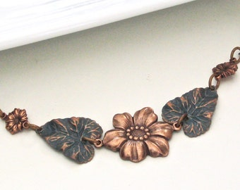 Flower Leaf Necklace - Teal Copper Necklace,  Mixed Metal Jewelry, Nature Jewelry, Garden Necklace