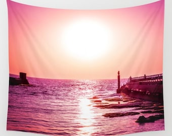 Sunset Tapestry Pink Tapestry Sunshine Lilac Tapestry Photo Tapestry Sea View Tapestry Wall Hanging Sky Tapestry Sea Tapestry