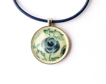 Blue Flower Necklace, Floral Fabric Resin Pendant on Blue Leather Necklace, SALE, Blue Statement Necklace, Resin Jewellery, UK Seller