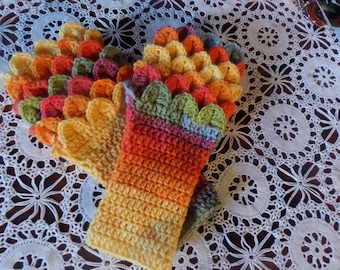 Bright pastel shaded Fingerless gloves,  fingerless mittens, wrist warmer gloves, winter accessory, crocodile stitch