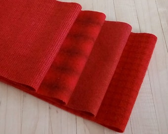 """Hand Dyed Felted Wool, Poppy v.2 , Four 6.5"""" x 16"""" pieces in Bright Scarlet Red, Perfect for Rug Hooking, Applique', and Crafts"""