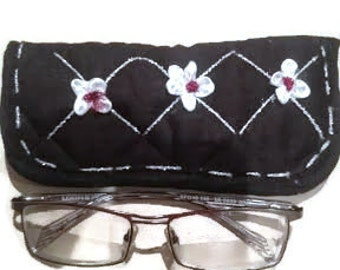 Black fabric eyeglass case, Reading glasses case, Eyeglasses case