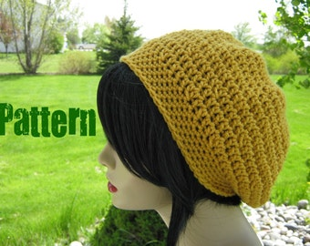 CROCHET PATTERN PDF - Beginner Crochet Pattern - Simple Slouchy Hat - Can Sell finished items - Instant Download by Yarntwisted