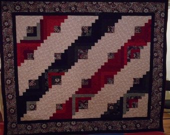 Hand Made Queen Size Quilt. Red  Black and White Log Cabin