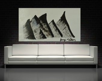 minimalist black and white Abstract Painting Modern contemporary wall Art Home Decor mountain landscape Abstract Art Wood or canvas Painting
