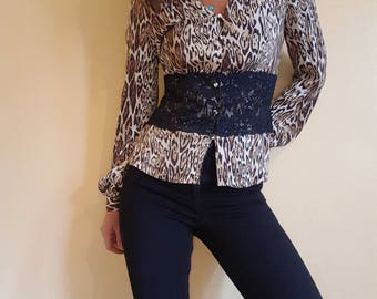 Vintage 80s Leopard Print Fitted Lace Shirt Size S