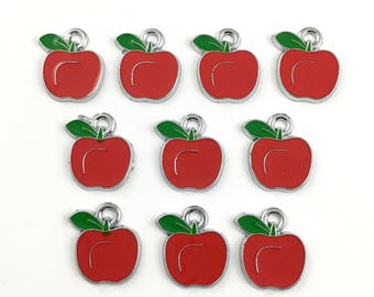 10 apple charms red enamel and silver tone,15mm x 18mm #CH 705