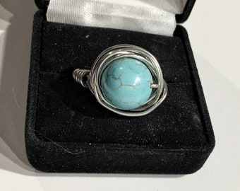 Turquoise, silver, wire wrapped, size 9.5 ring