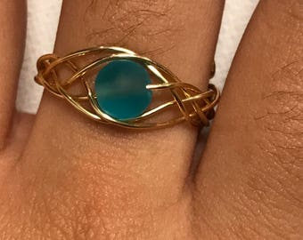 Blue Sea Glass Gold Woven Wire Adjustable Ring
