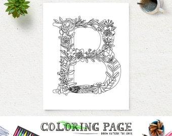 SALE Floral Alphabet Printable Coloring Page Letter P Instant