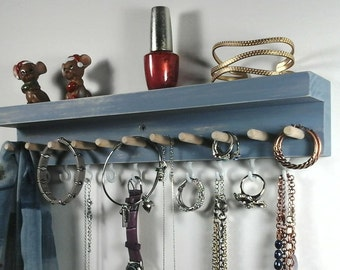 Wall Mount Jewelry Organizer, Jewelry Hanger, Necklace Holder Wall Earring  Holder, Ring Holder