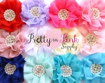 "Chiffon Pearl Rhinestone Flowers Choose 2...Large 4"" Chiffon Flowers...prettyinpinksupply...DIY Headband Supplies"