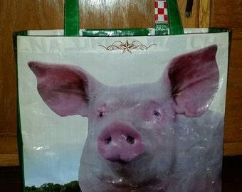 Repurposed Purina Pig Feed Bag Tote zero waste