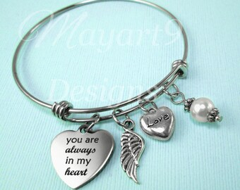 Stainless Steel Bracelet,Gift,Bangle,Wedding,Jewelry,Charm Bracelet,Gift For,Heart,Angel Wing,Pearl,Birthstone,Mother,Sister,Friend,Daughter