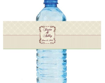 """100 Floral Frame Wedding Anniversary Water Bottle Labels Great for Engagement Bridal Shower Party 7""""x2"""""""