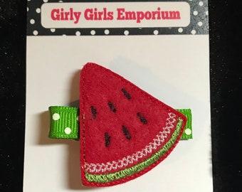 Pink or Red Watermelon Slice Polka Dot Feltie  Hair Clip