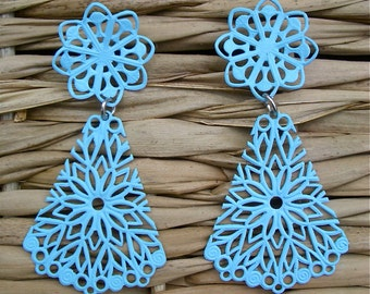 Filigree Snowflake Powder Blue Post Vintage Earrings