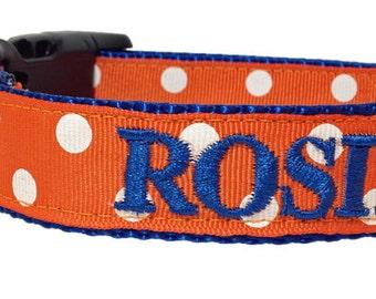 Orange and Blue Florida Gators Dog Collar, Personalized Dog Collar, Embroidered Dog Collar