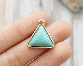 Set of 2, Triangle Charm, Gold Edged, Geometric Charm, Turquoise Magnesite Charm, Boho Charm, Simple Charm, Minimal Charm,