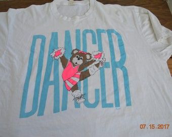 "80's Bear Dancer T Shirt ,Cheer Leader signed 89"" ,tee by Screen Stars , 42- 43"" Chest XXXL 100% Cotton,Vaporwave Athletic"