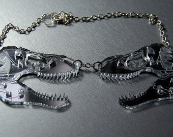 Mirror T-Rex skull statement necklace - Dinosaur Necklace - Tyrannosaurus - T rex skull necklace