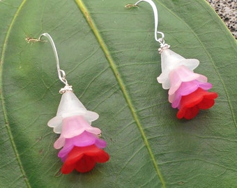 Flower Earrings - Island Orchid, Lucite Flowers, Dangle Earrings, Tropical Flowers, Flower Earrings