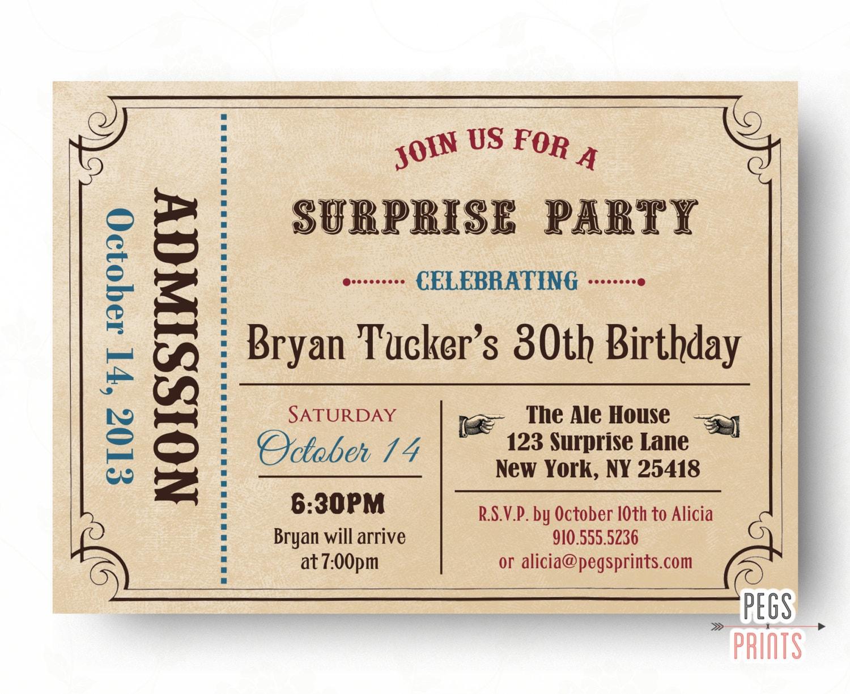 Adult surprendre invitation anniversaire admettre un billet - Invitation anniversaire surprise ...