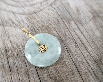 Bi disc necklace etsy solid 14k yellow gold light green jade disc bless drem stone charm simple design coin jadeite aloadofball Image collections