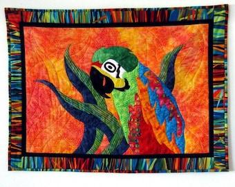 Tropical Fever Palila Parrot Art Quilt Batik Wall Hanging OOAK Orange Red Aqua by CinfulArt on Etsy