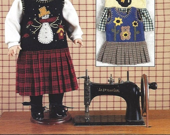 "SALE - Mini Jumper Jubilee - Indygo Junction Inc - Pattern for 18"" Doll Jumper - Four Applique Designs"