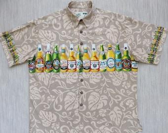 Hawaiian Beer Shirt KOKO ISLAND Crafted Beers Bottles Ale Lager Pilsner Hula Girl Party Aloha Shirt Mens Camp - XL - Oahu Lew's Shirt Shack