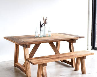 Industrial extendable table made from reclaimed wood trestle dining table made from reclaimed wood shaker kitchen table workwithnaturefo