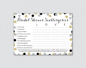 Bridal Shower Scattergories Game in Black and Gold Glitter - Printable Black, Silver, & Gold Scattergories Game - Bridal Shower Game 0001-K