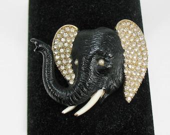 Vintage Ciner Rhinestone and Enamel Elephant Brooch
