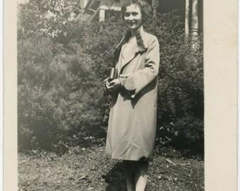 vintage photo 1932 Flapper Woman Betty fur Trim Coat Rosy Cheeks Scallop sleeve Fashion