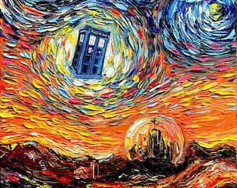 Dr Who Art - Tardis Starry Night print van Gogh Never Saw Gallifrey by Aja 8x8, 10x10, 12x12, 20x20, and 24x24 inches choose