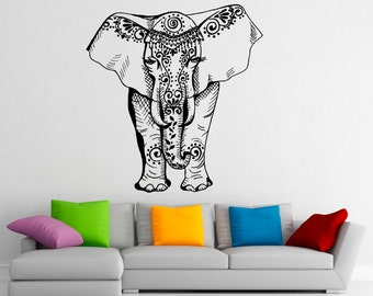 Indian Elephant Wall Decal Vinyl Stickers Elephant Patterns Interior Home  Design Wall Art Murals Bedroom Decor (14ie01t)