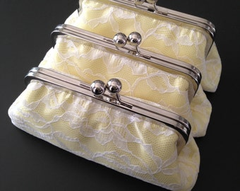 SALE - Personalized Bridesmaids Gifts - White Lace over light Yellow Clutches
