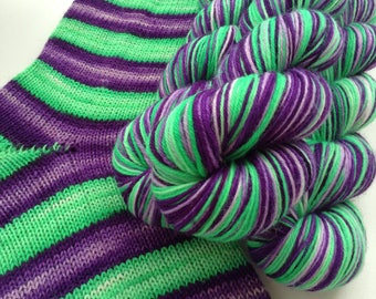 Hand dyed self striping merino sock yarn - Witching Hour