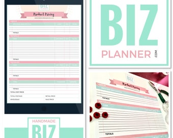 The Handmade Business Planner Product Pricing, Finance Worksheet, Price, digital download, handmade biz planner