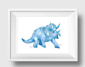 Dinosaur Nursery Wall Art, Navy Blue Dinosaur Decor, Triceratops Dinosaur Nursery Art Print, Baby Boy Nursery Decor, Dinosaur Wall Decor