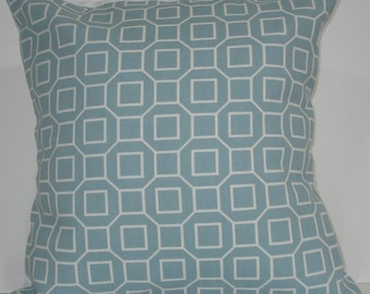 New 18x18 inch Designer Handmade Pillow Cases in blue and white geometric pattern