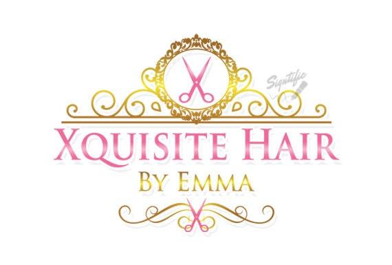 Hair Salon Logo With Scissors Beauty Stylist Vintage Gold Frame Pink Lettering OOAK